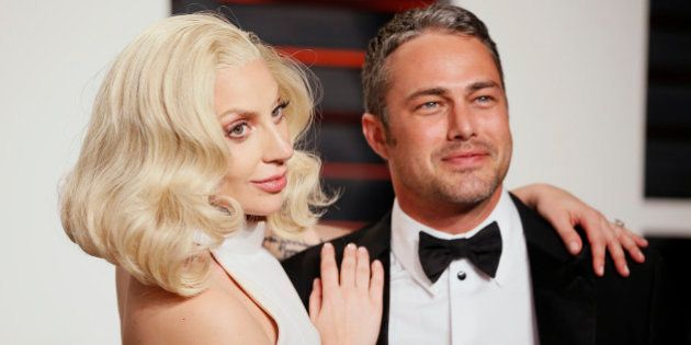 Singer Lady Gaga and her fiance Taylor Kinney arrive at the Vanity Fair Oscar Party in Beverly Hills,...