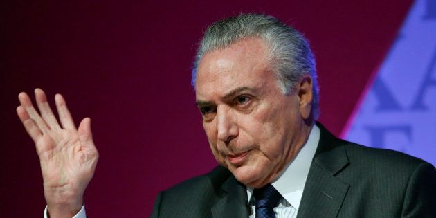 Brazil's Vice President Michel Temer speaks during an Economic Forum seminar in Sao Paulo, Brazil, Monday,...