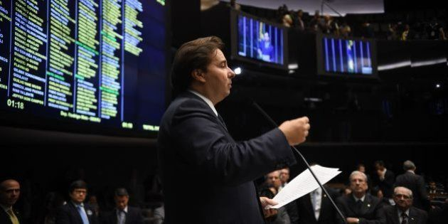 The candidate to the presidency of Brazil's Lower House Rodrigo Maia, of the Democrats party (DEM), speaks...