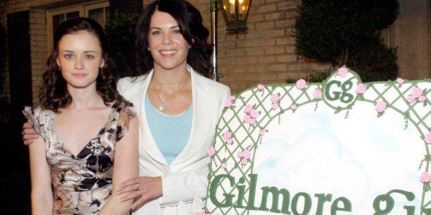 Alexis Bledel and Lauren Graham during 'Gilmore Girls' 100th Episode Celebration at Warner Brothers in...