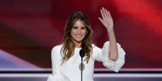 Melania Trump, wife of Republican Presidential Candidate Donald Trump waves as she speaks during the...