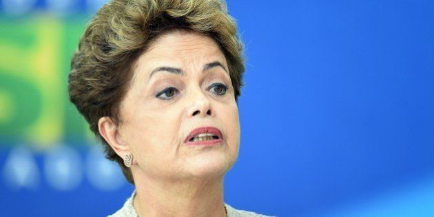 Brazilian President Dilma Rousseff delivers a speech during new Finance Minister Nelson Barbosa's installation...