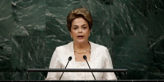 Brazilian President Dilma Rousseff delivers her remarks during the signing ceremony on climate change...
