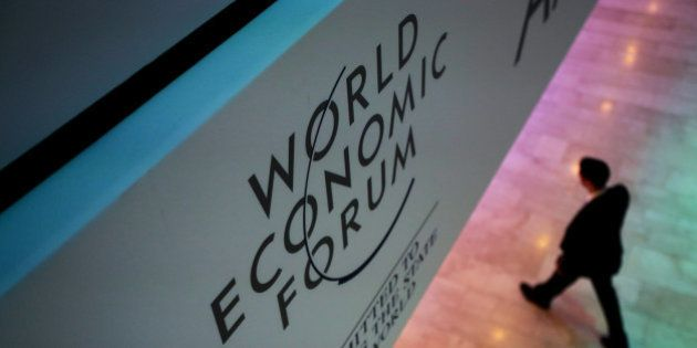 A WEF logo sits on display in a hall inside the Congress Center ahead of the World Economic Forum (WEF)...