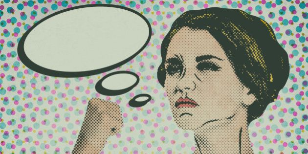 Pop art comic style woman with speech bubble, vintage