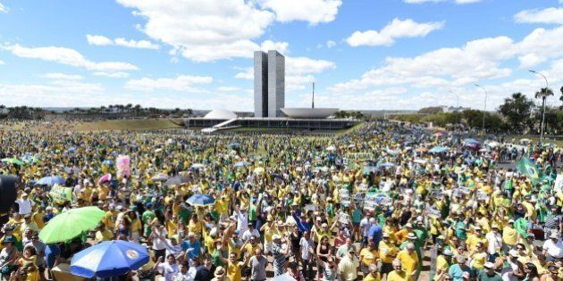 Demonstrators protest against the government of Brazilian President Dilma Rousseff and the ruling Workers...