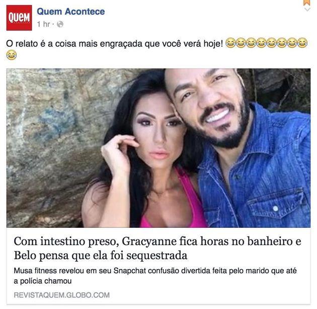 O dia em que o intestino de Gracyanne Barbosa virou notícia entra para a história da