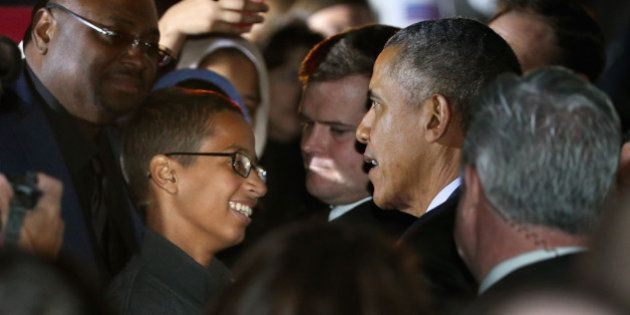 WASHINGTON, DC - OCTOBER 19: U.S. President Barack Obama (2nd R) talks with 14-year-old Ahmed Mohamed...