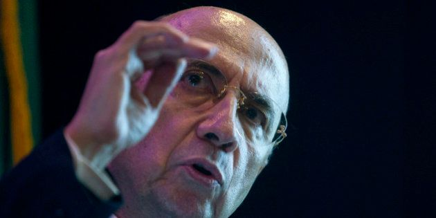 Henrique Meirelles, former president of Brazil's central bank, speaks during an event in New York, U.S.,...