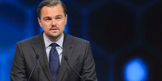 US actor Leonardo DiCaprio delivers a speech after he was awarded during the 22nd Annual Crystal Awards...