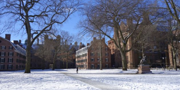 Old Campus of Yale University founded in 1701 in New Haven,