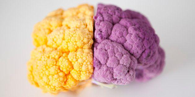 Yellow and purple cauliflower, studio