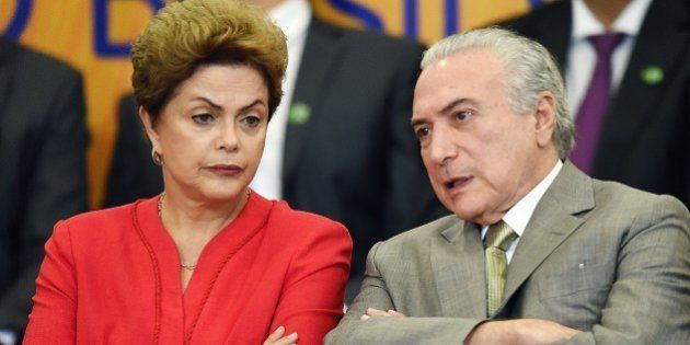 Brazilian President Dilma Rousseff and her vice President Michel Temer attend the launching ceremony...
