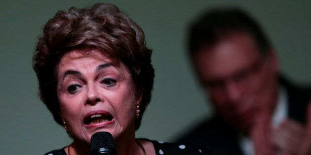 Suspended Brazilian President Dilma Rousseff speaks during the launching ceremony of the