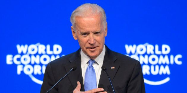 US Vice President Joe Biden gestures during his speech at the World Economic Forum (WEF) annual meeting...