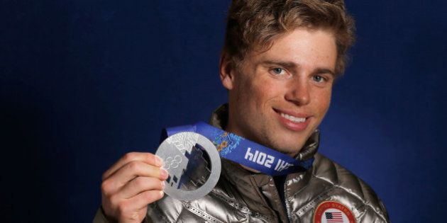 SOCHI, RUSSIA - FEBRUARY 14: (BROADCAST-OUT) Gus Kenworthy of the USA Skiing team poses with his silver...