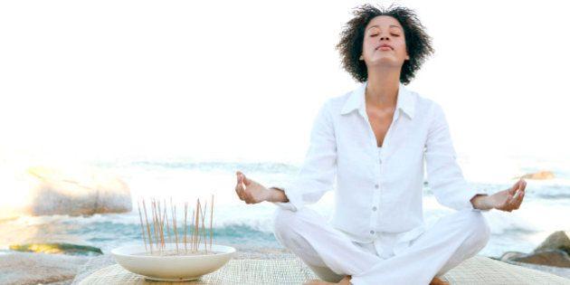 Woman meditating by