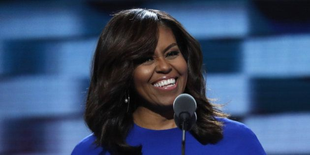 U.S. first lady Michelle Obama speaks during the first session at the Democratic National Convention...