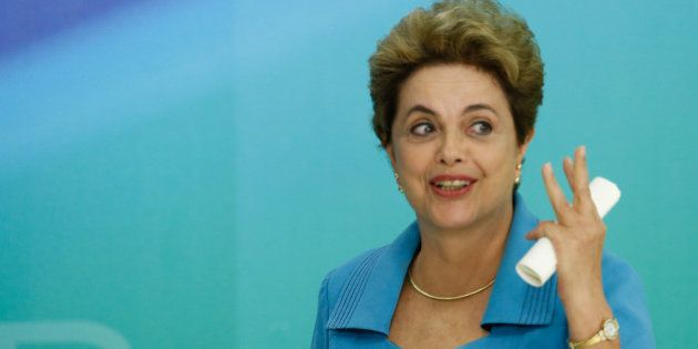 BRASILIA, BRAZIL - APRIL 18: President of Brazil Dilma Rousseff speaks at a press conference April 18,...