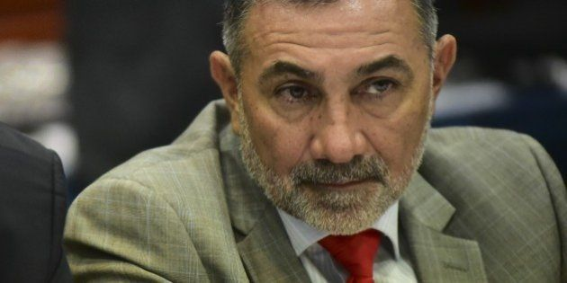 CARACAS, VENEZUELA - JUNE 25: Brazilian senator Roberto Requiao (L) and Telmario Mota (R) are seen during...