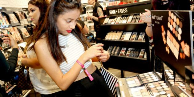 TORRANCE, CA - OCTOBER 10: Guests shop for their favorite NYX products during the NYX Cosmetics store...