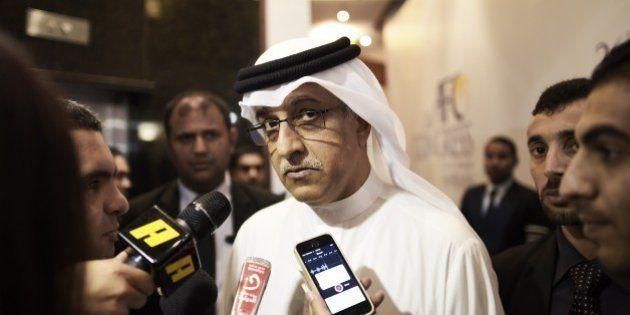 Re-elected president of the Asian Football Confederation (AFC), Salman bin Ebrahim al Khalifa (C) speaks...