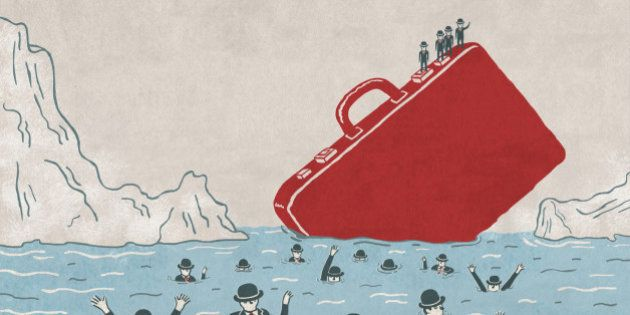 Illustrative image of business people drowning in sea and men on briefcase representing cost cutting...