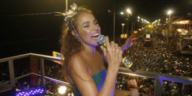 SALVADOR, BRAZIL - FEBRUARY 15: Brazilian singer Daniela Mercury of Circuito Osmar performs during her...