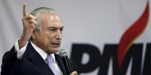 Brazil's Vice President Michel Temer speaks during a meeting with members of the Party of the Brazilian...