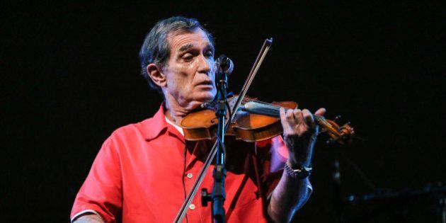 SAO PAULO, BRAZIL - APRIL 02: Jorge Mautner plays de violin during a show between Jorge Mautner and Gilberto...