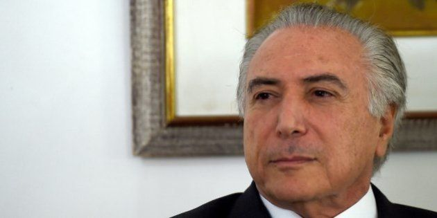 Brazilian Vice President Michel Temer is pictured during a meeting at the Senate official residence in...