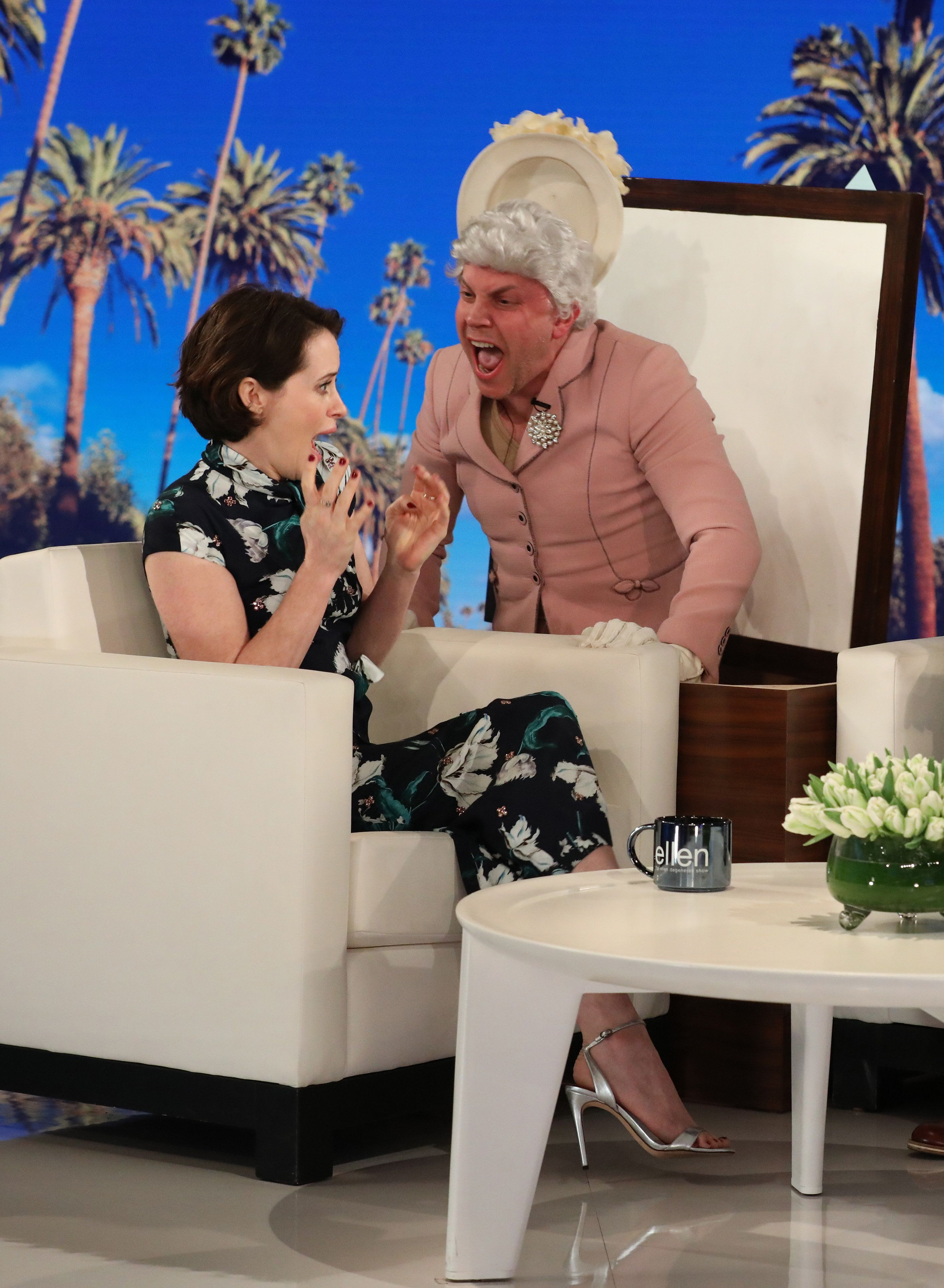 """In this photo released by Warner Bros., behind the scenes photos are taken during a shoot for """"The Ellen DeGeneres Show"""" in Los Angeles. (Photo by Michael Rozman/Warner Bros.)"""