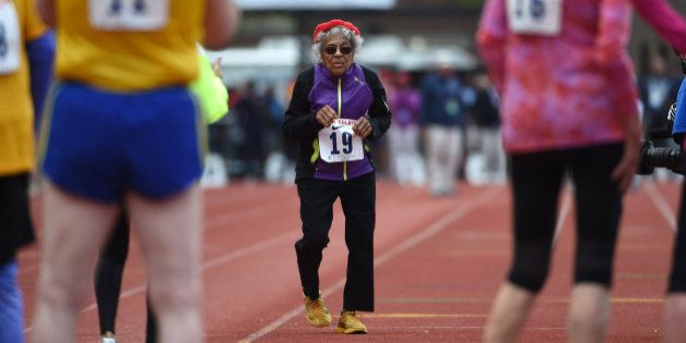 Apr 30, 2016; Philadelphia, PA, USA; Ida Keeling (age 100) runs in the mixed masters age 80 and over...