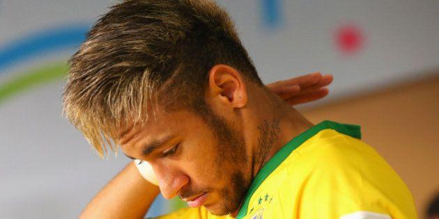 FORTALEZA, BRAZIL - JULY 04: Neymar of Brazil walks out prior to the 2014 FIFA World Cup Brazil Quarter...
