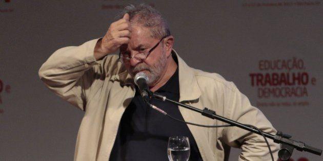 Brazil's former President Luiz Inacio Lula da Silva delivers a speech during the 12th Congress of the...