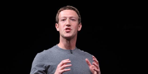 Chairman, chief executive, and co-founder of the social networking website Facebook Mark Zuckerberg speaks...