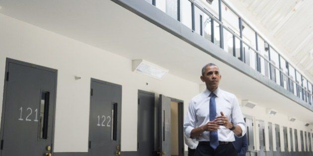 US President Barack Obama speaks as he tours the El Reno Federal Correctional Institution in El Reno,...
