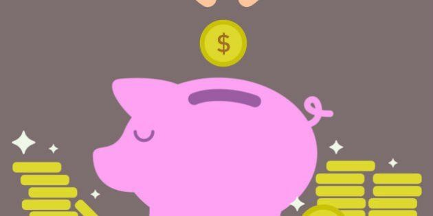 Piggy bank savings concept created with easy to edit