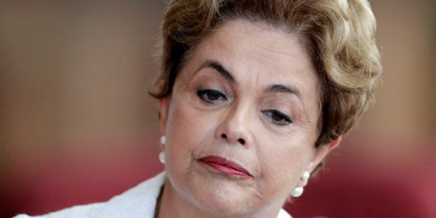 Suspended Brazilian President Dilma Rousseff attends a news conference with foreign media in Brasilia,...