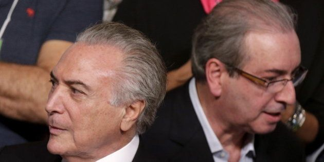 Brazil's Vice President Michel Temer (L) is seen near President of the Chamber of Deputies Eduardo Cunha...