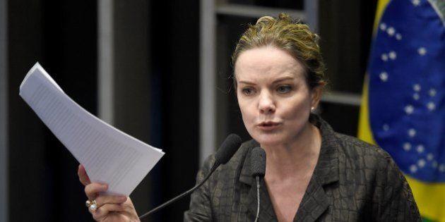Senator Gleisi Hoffmann, former chief of staff of Brazilian president Dilma Rousseff, speaks during a...