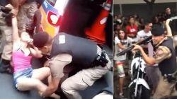 ASSISTA: PMs empurram mulheres e apontam arma para elas em protesto contra Cunha em