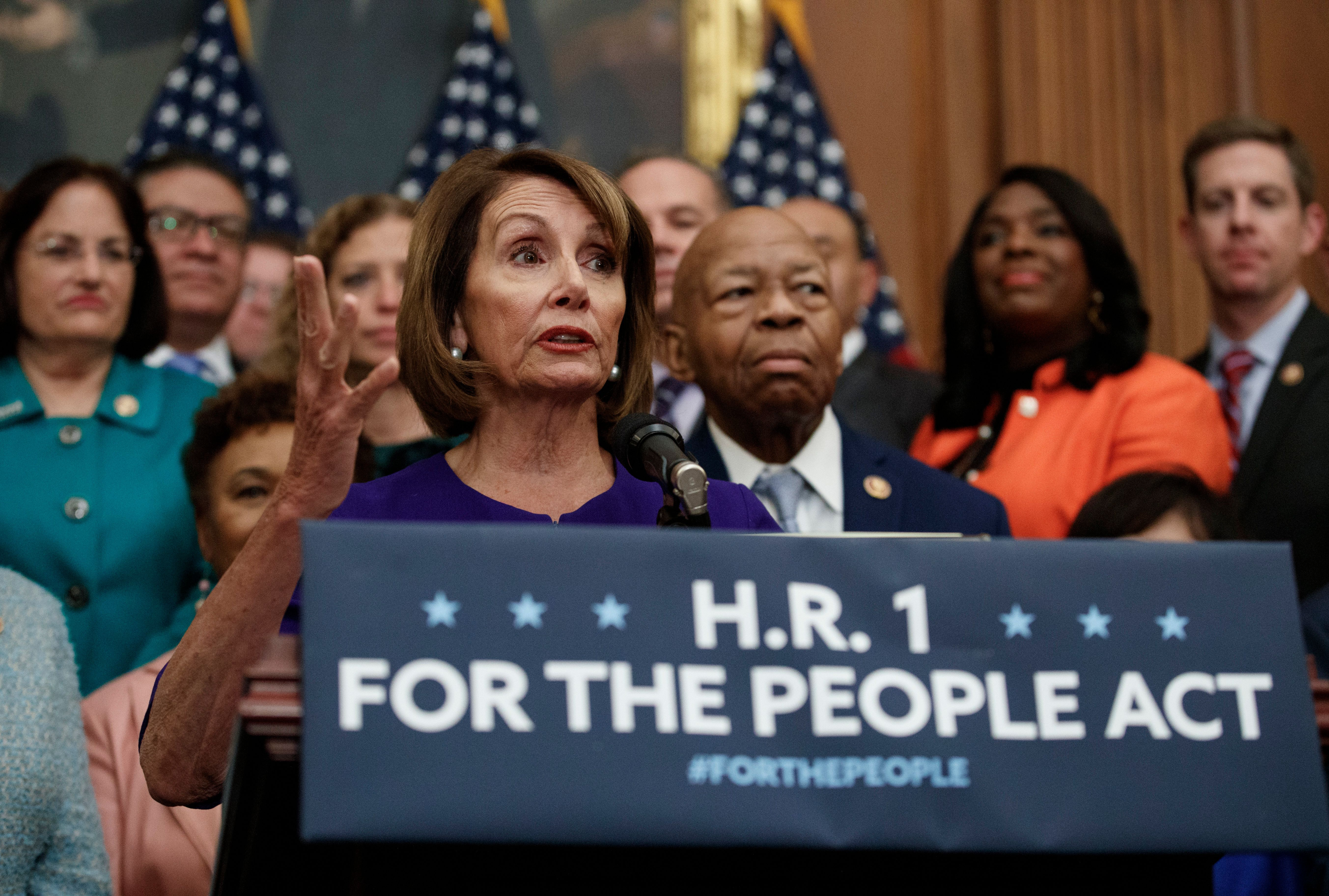 Speaker Nancy Pelosi (D-Calif.) and other Democrats introduced a sweeping proposal on voting rights, campaign finance and ethics reforms in the House on Jan. 4.