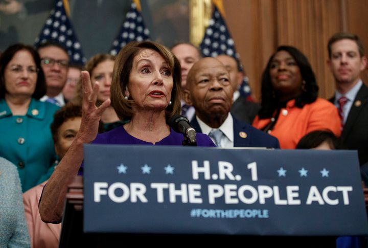 Speaker Nancy Pelosi (D-Calif.) and other Democrats introduced a sweeping proposal on voting rights, campaign finance and eth