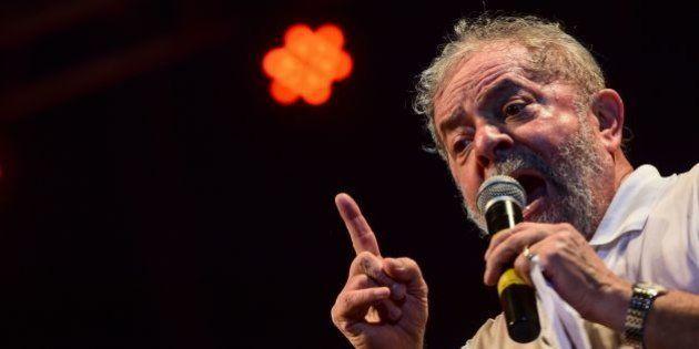 Brazilian former President (2003-2011) Luiz Inacio Lula Da Silva delivers a speech during a rally in...