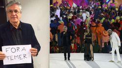 Caetano pede 'fora Temer' antes da cerimônia de abertura dos Jogos