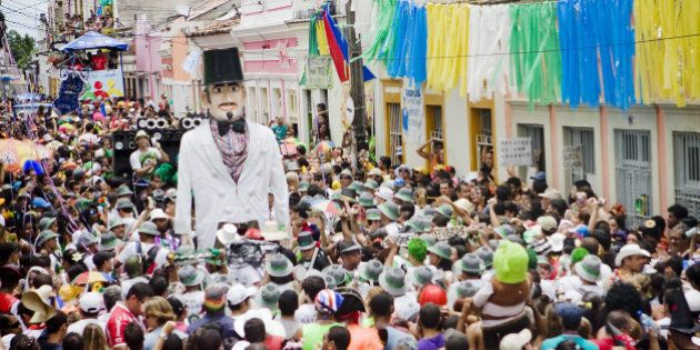 OLINDA, BRAZIL - FEBRUARY 16: Homem da Meia Noite, or 'Midnight Man', in Portuguese, the most famous...