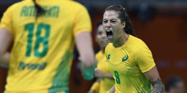 Brazil's left wing Fernanda Franca da Silva celebrates a goal during the women's preliminaries Group...