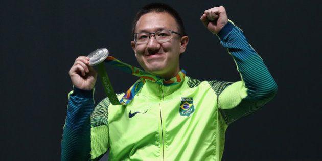 RIO DE JANEIRO, BRAZIL - AUGUST 06: Felipe Almeida Wu of Brazil celebrates after winning the silver medal...