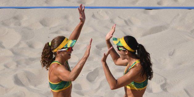 RIO DE JANEIRO, BRAZIL - AUGUST 07: Larissa Franca Maestrini and Talita Rocha of Brazil react during...